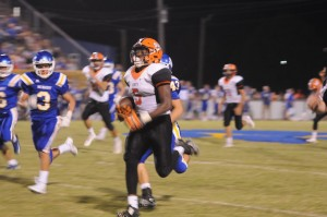RU-DY, RU-DY, RU-DY - Rudy Jenkins came within inches of a touchdown Friday night, returning an MCHS kickoff for 78 yards just before halftime. Photo by Logan Watson.