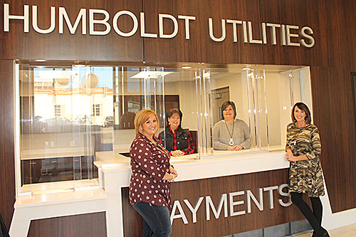 LOBBY OPENS - After months of construction and renovations, the lobby at Humboldt Utilities is set to open this week. Customer service representatives (from left) Cindy Adkisson, Laura Patterson, Teresa Morris and Brooke Carrell are eager to move into their new stations and out of the temporary office in the community room at the back of the building.