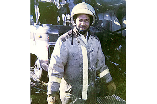 Chester Owens in full gear early in his career with the Humboldt Fire Department.