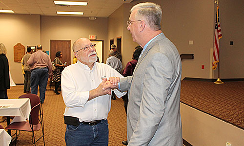 THANKS MAYOR - Chicago Metallic plant manager, Ed Zelenka, (left) thanks Humboldt Mayor Marvin Sikes after the 2nd annual Breakfast with the Mayor last Thursday morning. A good crowd attended to hear Mayor Sikes give his State of the City address.