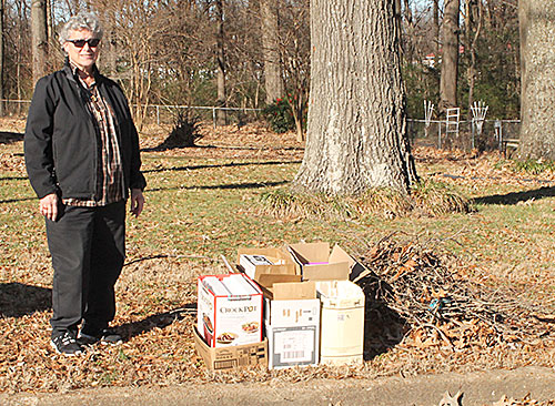 TRASH PILE - Humboldt code enforcer, Jeanna Shellenberger, stands beside a perfect example of how trash and yard debris should be placed by the street for pickup. This is a small pile but larger amounts should be placed in a similar manner.